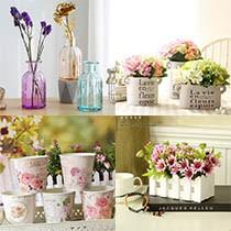 Кашпо и вазы стеклянные, керамические, заборчики деревянные