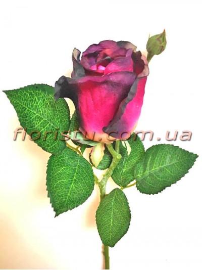 Роза искусственная мини Бордово-фиолетовая 32 см гол. 7 см