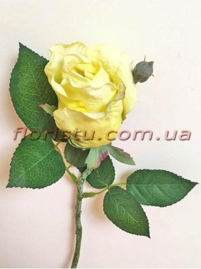 Роза искусственная мини Желтая 32 см гол. 7 см