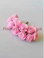 Бутоньерка розочки латекс розовые 12 гол. 2 см