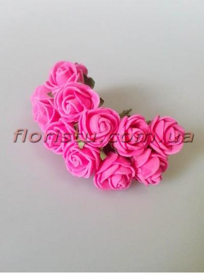 Бутоньерка розочки латекс сочно-розовые 12 гол. 2 см