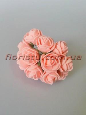 Бутоньерка розочки латекс персиково-розовые 12 гол. 2 см