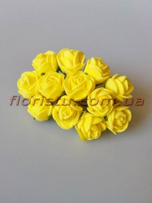 Бутоньерка розочки латекс желтые 12 гол. 2 см