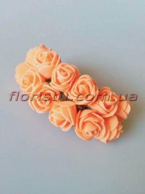 Бутоньерка розочки латекс оранжево-персиковые 12 гол. 2 см