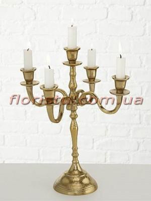 Канделябр металлический Золото на 5 свечей 40 см
