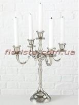 Канделябр металлический Виктория серебро на 5 свечей 40 см