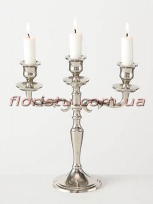 Канделябр металлический Varas серебро на 3 свечи 25 см