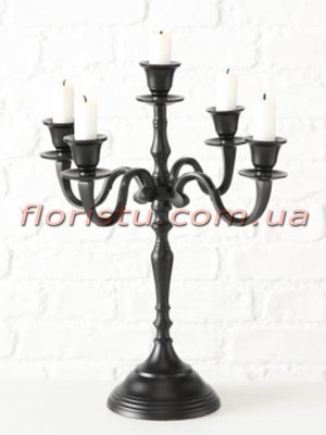 Канделябр металлический Черный на 5 свечей 40 см