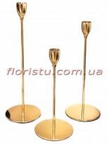 Набор металлических подсвечников Золото 3 шт.
