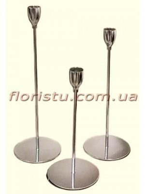 Набор металлических подсвечников Серебро 3 шт.