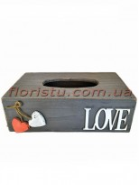 LOVE Салфетница деревянная 25*14 см