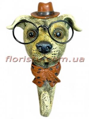 Декоративная фигурка-крючок из полистоуна Собака в коричневой шляпе 16 см