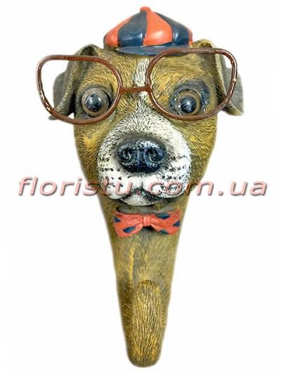 Декоративная фигурка-крючок из полистоуна Собака в кепи 16 см