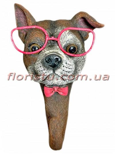 Декоративная фигурка-крючок из полистоуна Собака в розовых очках 16 см