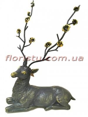 Статуэтка из полистоуна премиум класса Олень с розами 50 см