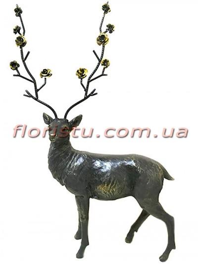 Статуэтка из полистоуна премиум класса Олень с розами 65 см