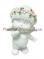 Ангел в веночке фигурка из полистоуна 15 см №2