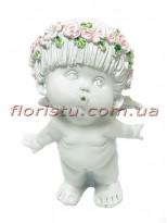 Ангел в веночке фигурка из полистоуна 15 см №3