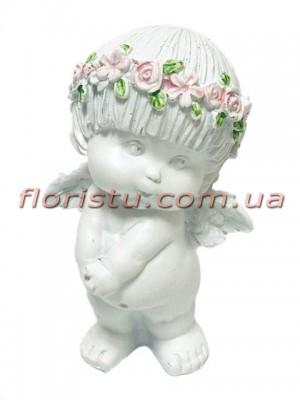 Ангел в веночке фигурка из полистоуна 15 см №1