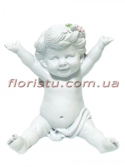 Ангел с цветком фигурка из полистоуна 8,5 см №2