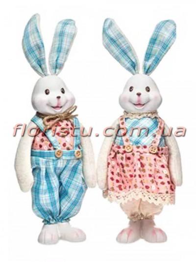 Декоративная фигура Зайцы в розово-голубых костюмчиках 37 см