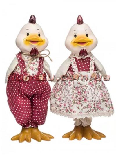 Декоративная фигура Курочка и Петушок в розово-красных костюмчиках 37 см