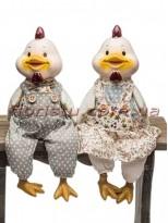 Декоративная фигура Курочка и Петушок в серых костюмчиках 37 см