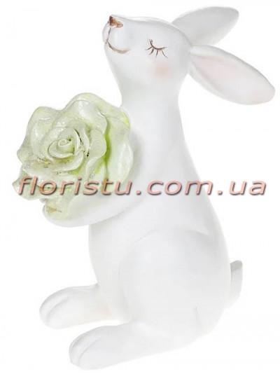 Керамическая статуэтка Кролик с салатовым цветком 14,5 см