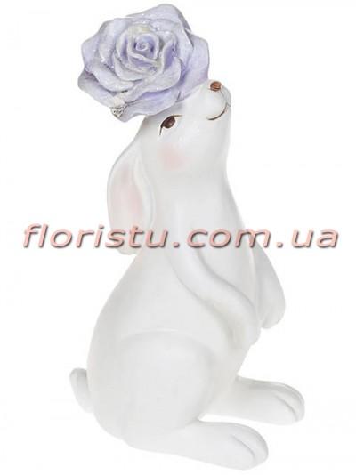 Керамическая статуэтка Кролик с сиреневым цветком 16,5 см