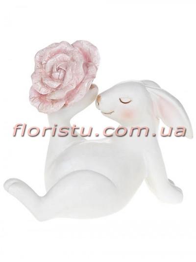 Керамическая статуэтка Кролик с розовым цветком 12,5 см