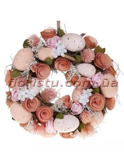 Венок пасхальный декоративный персиково-розовый 24 см