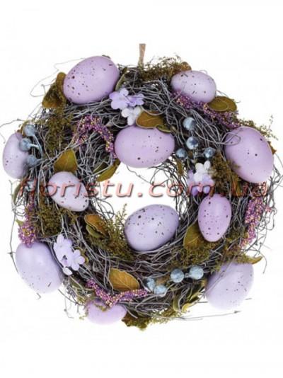 Венок пасхальный декоративный сиренево-лавандовый 25 см