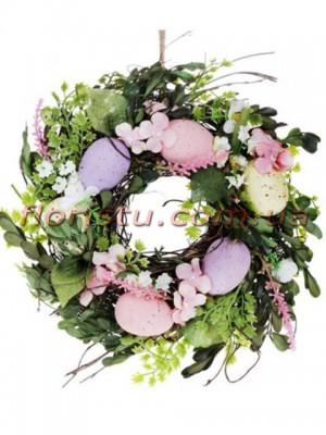 Венок пасхальный декоративный сиренево-розовый 25 см