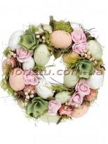 Венок пасхальный декоративный персиково-салатовый 24 см