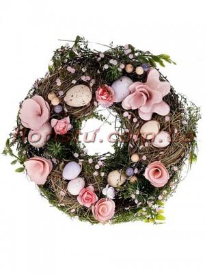 Венок пасхальный декоративный розовый 21 см