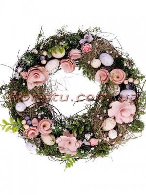 Венок пасхальный декоративный розовый 31 см
