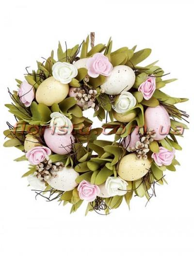 Венок пасхальный декоративный розово-оливковый 28 см