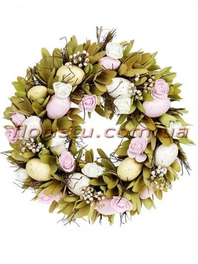 Венок пасхальный декоративный розово-оливковый 37 см