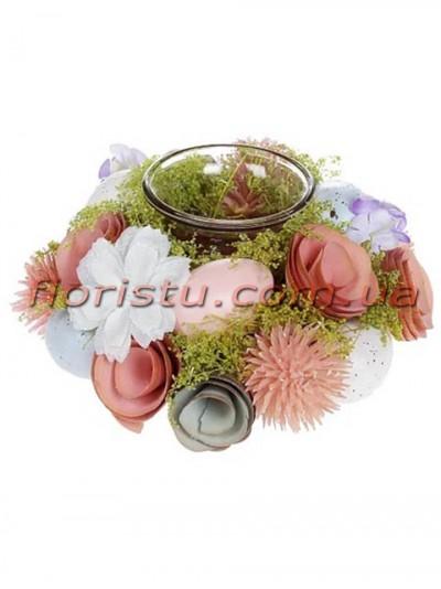 Декоративный пасхальный подсвечник со стеклянной колбой 15 см