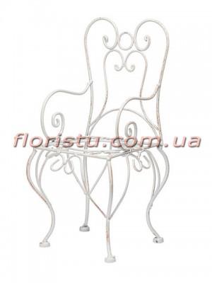 Декоративный стульчик металлический для цветов Белый 32*16 см