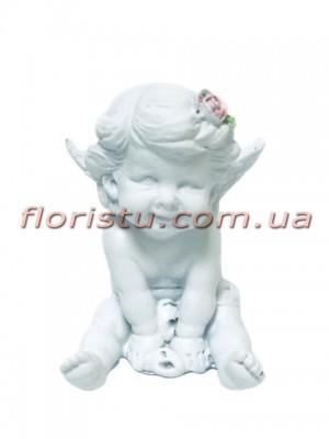 Ангел с цветком фигурка из полистоуна 8,5 см №1