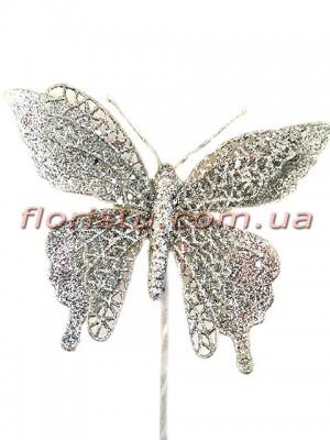 Новогодняя бабочка в серебре 25 см