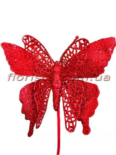 Новогодняя бабочка в красном глиттере 25 см