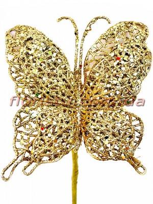 Бабочка новогодняя Золото 25 см
