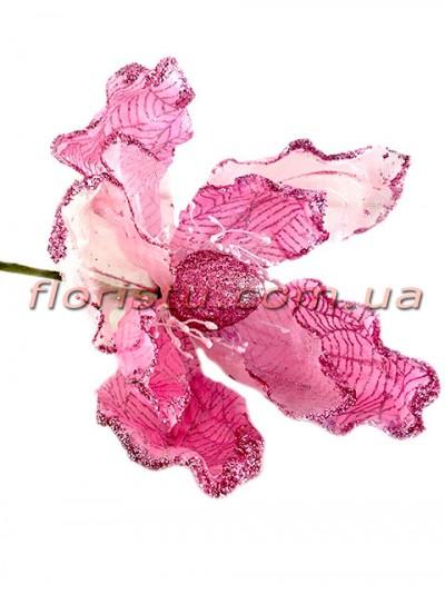 Пуансеттия новогодняя из органзы Розовая 20 см