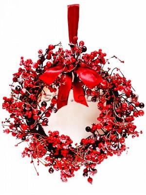 Венок рождественский Премиум с красными ягодами и лентой 40 см