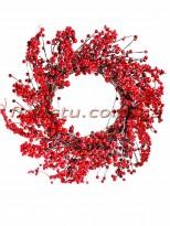Венок рождественский Премиум с красными ягодами 55 см