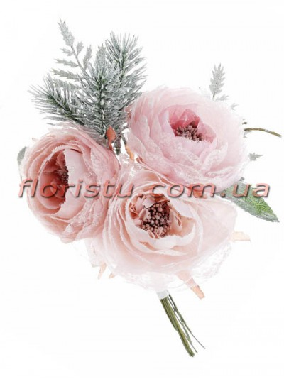 Розы с зимним декором Нежно-розовые премиум класса 25 см гол. 7 см