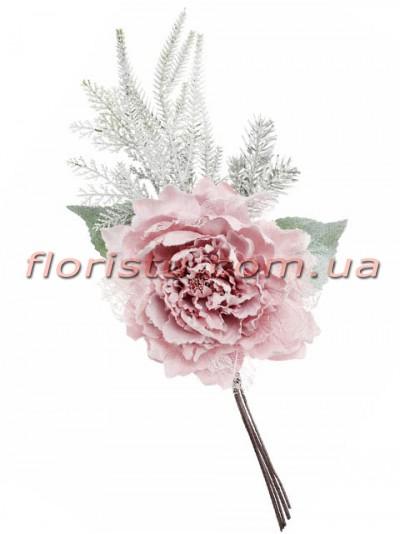 Пион с зимним декором Нежно-розовый премиум класса 55 см гол. 20 см