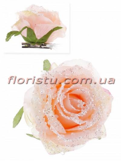 Головка новогодней розы на клипсе Нежно-розовая 9 см